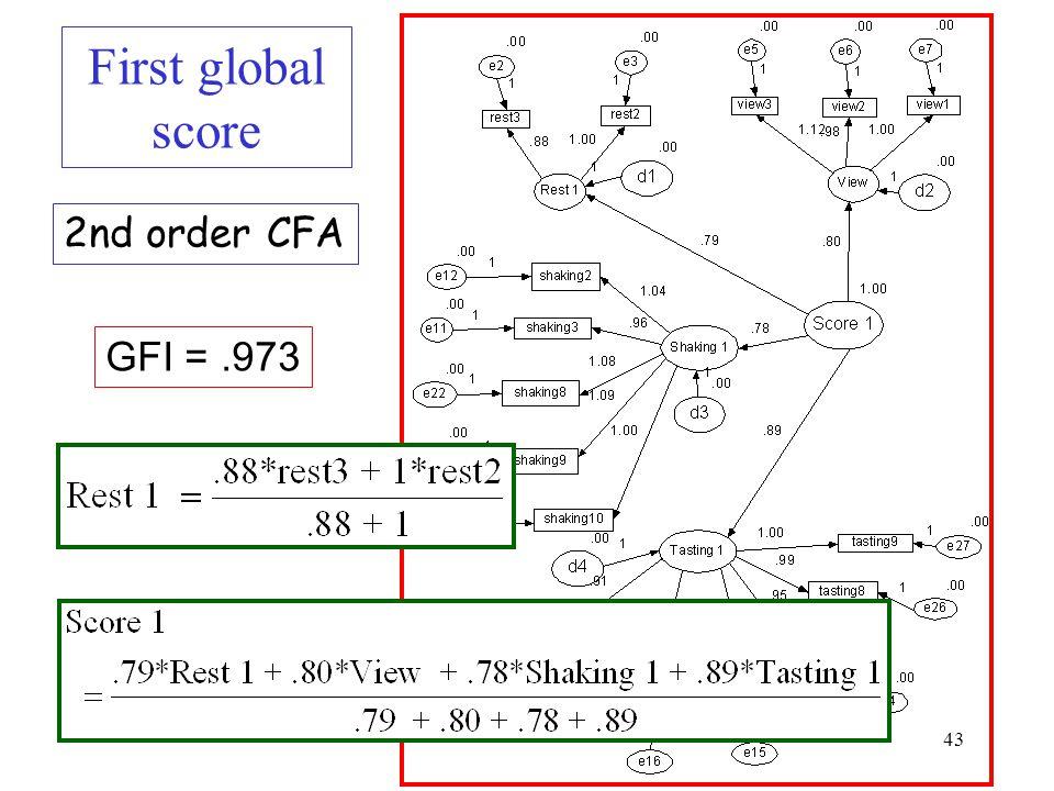 43 First global score GFI =.973 2nd order CFA