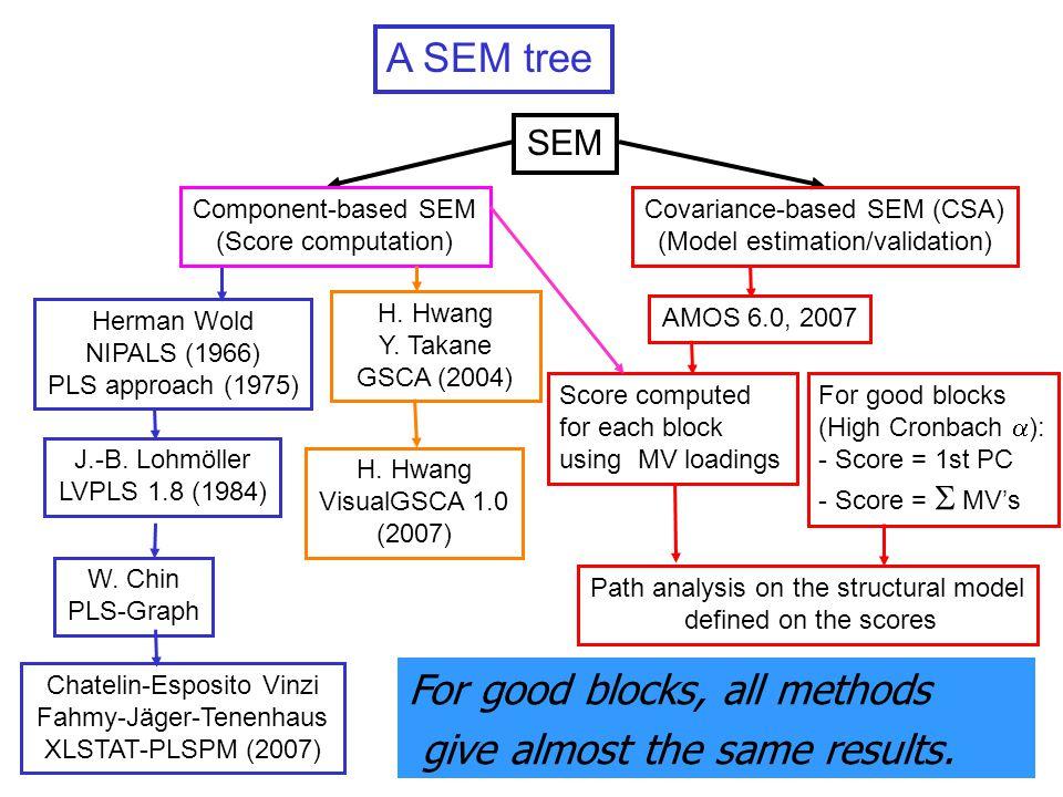 5 A SEM tree Chatelin-Esposito Vinzi Fahmy-Jäger-Tenenhaus XLSTAT-PLSPM (2007) W.