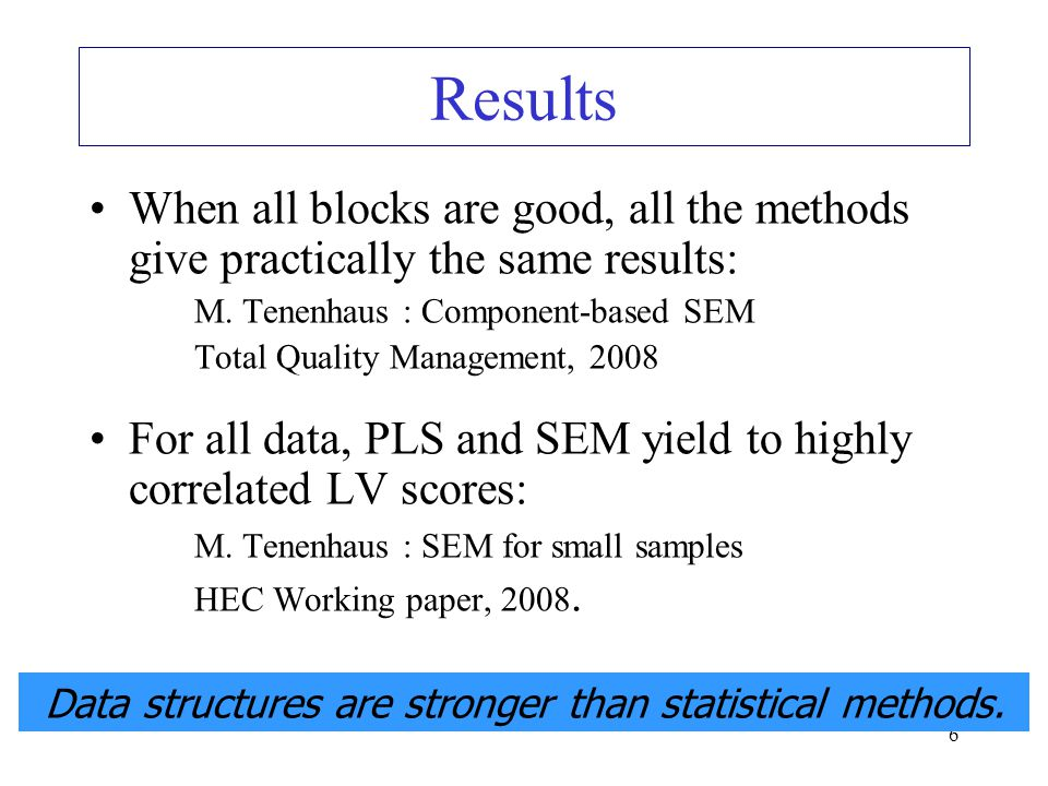 6 When all blocks are good, all the methods give practically the same results: M. Tenenhaus : Component-based SEM Total Quality Management, 2008 For a