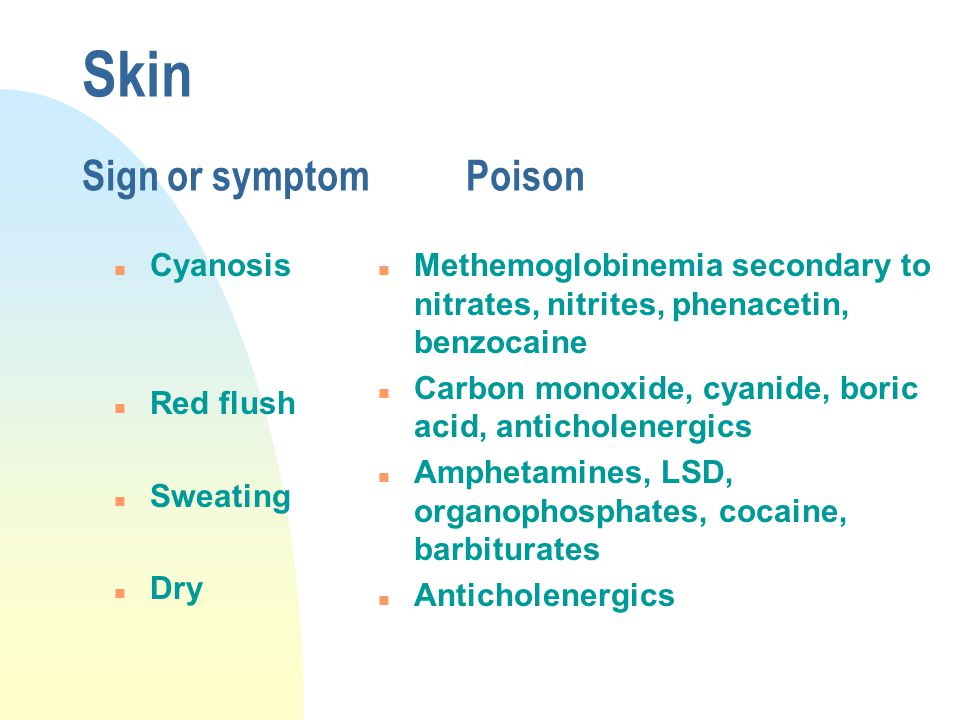 Skin Sign or symptomPoison n Cyanosis n Red flush n Sweating n Dry n Methemoglobinemia secondary to nitrates, nitrites, phenacetin, benzocaine n Carbon monoxide, cyanide, boric acid, anticholenergics n Amphetamines, LSD, organophosphates, cocaine, barbiturates n Anticholenergics