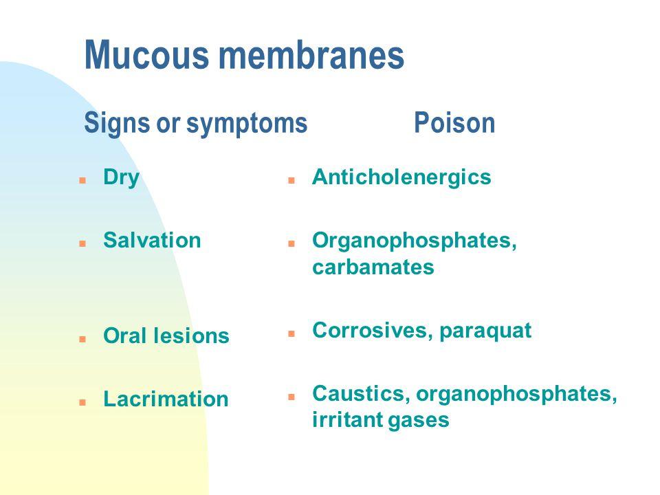 Mucous membranes Signs or symptomsPoison n Dry n Salvation n Oral lesions n Lacrimation n Anticholenergics n Organophosphates, carbamates n Corrosives