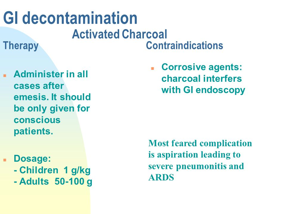 GI decontamination Activated Charcoal TherapyContraindications n Administer in all cases after emesis. It should be only given for conscious patients.