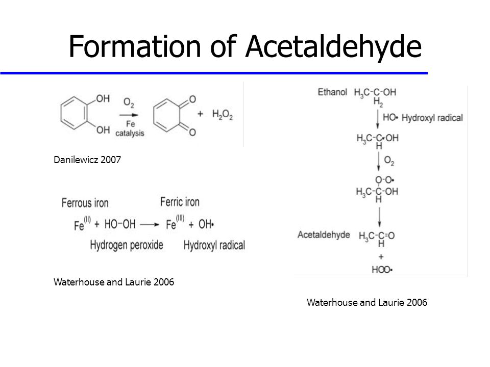 Formation of Acetaldehyde Danilewicz 2007 Waterhouse and Laurie 2006