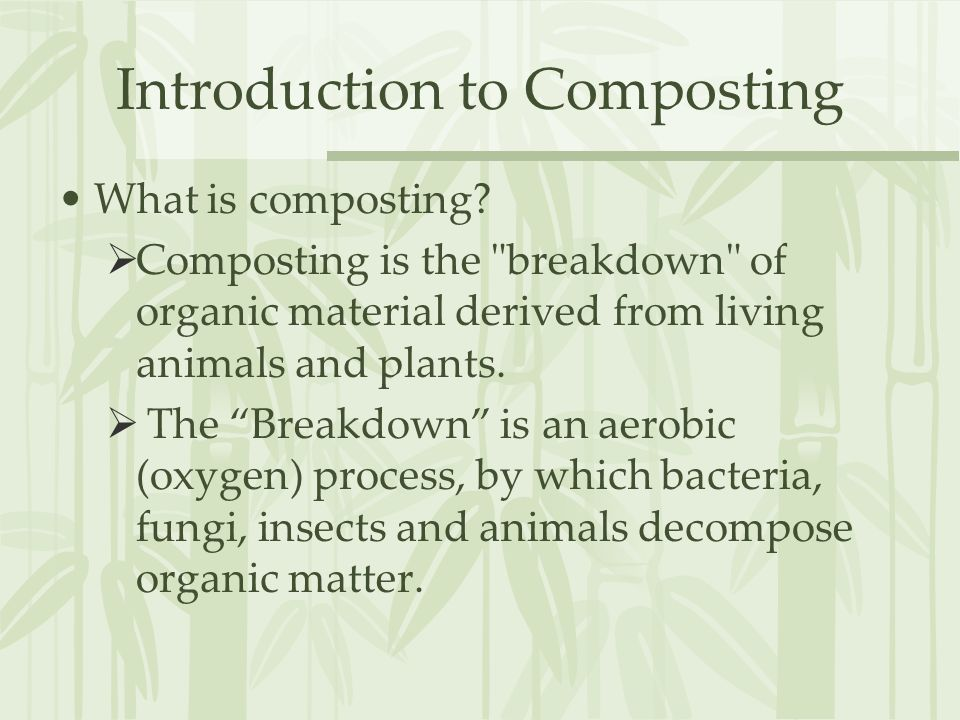 Introduction to Composting What is composting.
