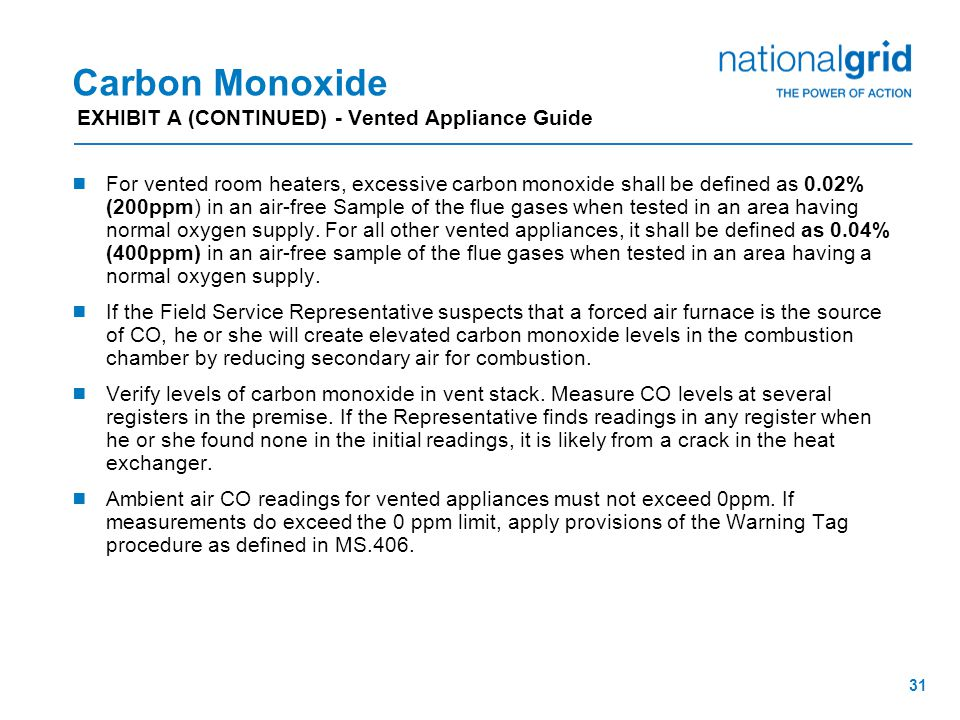 30 Carbon Monoxide EXHIBIT A - Vented Appliance Guide  Check venting system for proper installation, good draft, and physical condition.