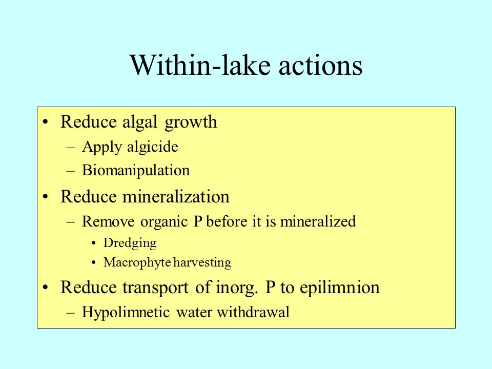 Within-lake actions Reduce algal growth –Apply algicide –Biomanipulation Reduce mineralization –Remove organic P before it is mineralized Dredging Macrophyte harvesting Reduce transport of inorg.