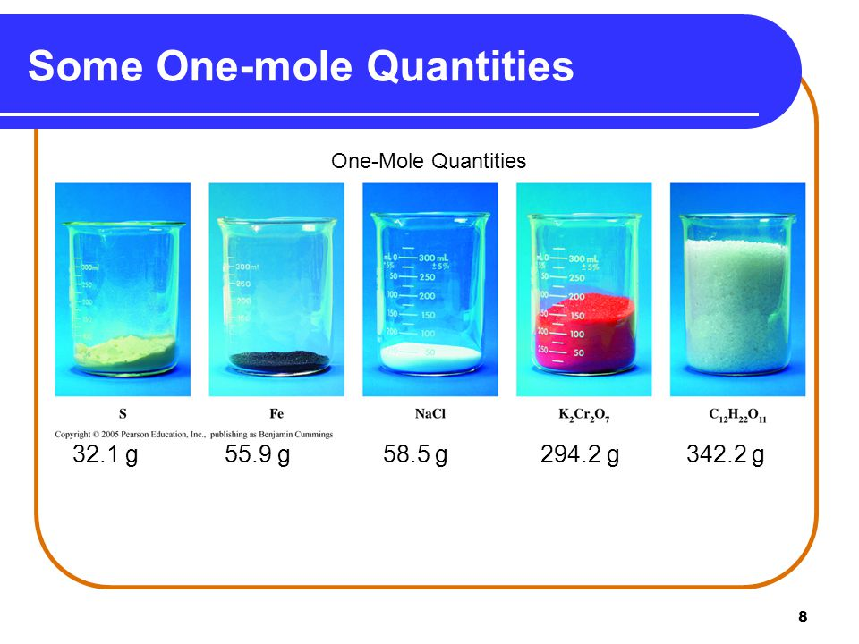 8 Some One-mole Quantities 32.1 g 55.9 g 58.5 g 294.2 g 342.2 g One-Mole Quantities