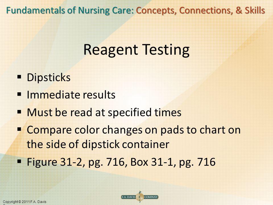 Fundamentals of Nursing Care: Concepts, Connections, & Skills Copyright © 2011 F.A. Davis Company Reagent Testing  Dipsticks  Immediate results  Mu