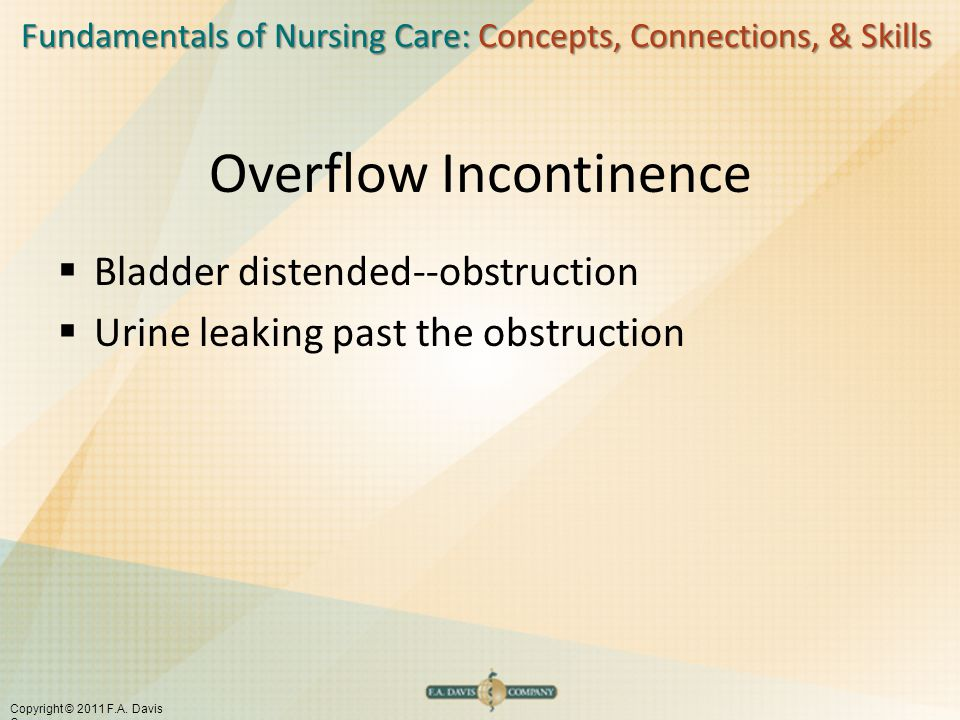 Fundamentals of Nursing Care: Concepts, Connections, & Skills Copyright © 2011 F.A. Davis Company Overflow Incontinence  Bladder distended--obstructi