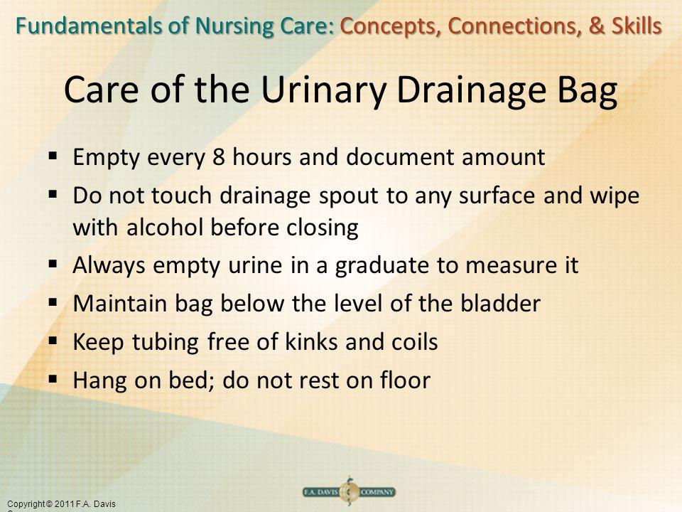 Fundamentals of Nursing Care: Concepts, Connections, & Skills Copyright © 2011 F.A. Davis Company Care of the Urinary Drainage Bag  Empty every 8 hou