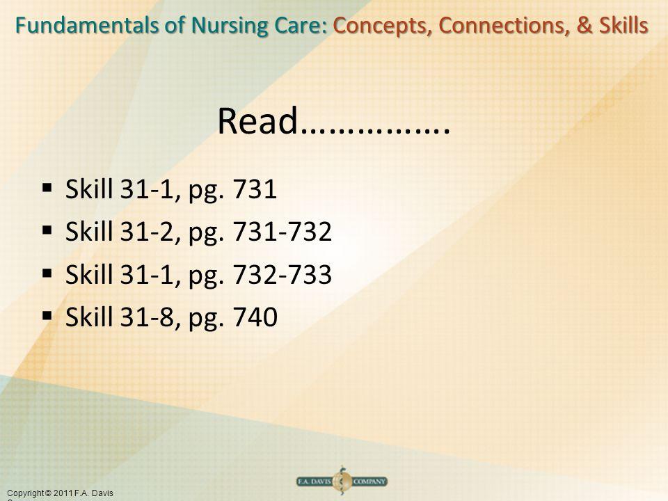 Fundamentals of Nursing Care: Concepts, Connections, & Skills Copyright © 2011 F.A. Davis Company Read…………….  Skill 31-1, pg. 731  Skill 31-2, pg. 7