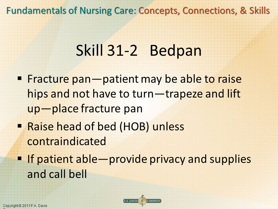 Fundamentals of Nursing Care: Concepts, Connections, & Skills Copyright © 2011 F.A. Davis Company Skill 31-2 Bedpan  Fracture pan—patient may be able