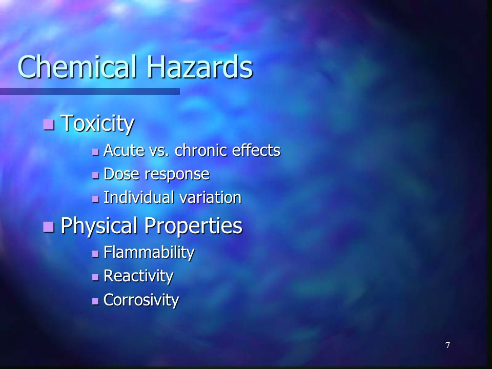 17 Hazard review ChemicalErgonomicPhysicalBiological Toxicity Physical properties Ionizing/Non-ionizing radiation Noise Safety (egress, mech, elect, falls, etc.) Blood borne pathogens Molds & bacteria CTD, (material handling, etc.)