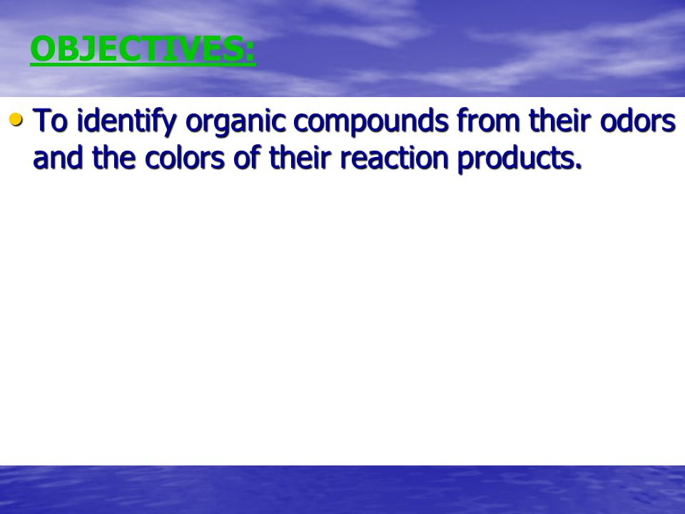 To identify organic compounds from their odors and the colors of their reaction products.