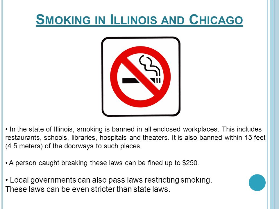 In the state of Illinois, smoking is banned in all enclosed workplaces. This includes restaurants, schools, libraries, hospitals and theaters. It is a
