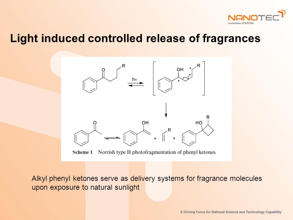 Light induced controlled release of fragrances Alkyl phenyl ketones serve as delivery systems for fragrance molecules upon exposure to natural sunlight