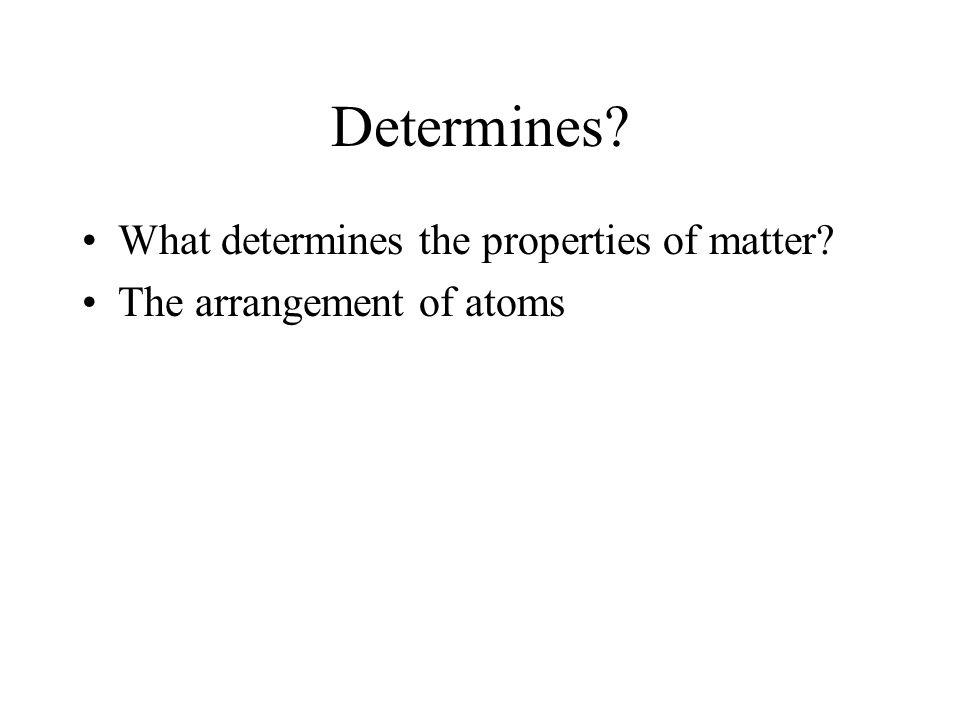 Determines? What determines the properties of matter? The arrangement of atoms