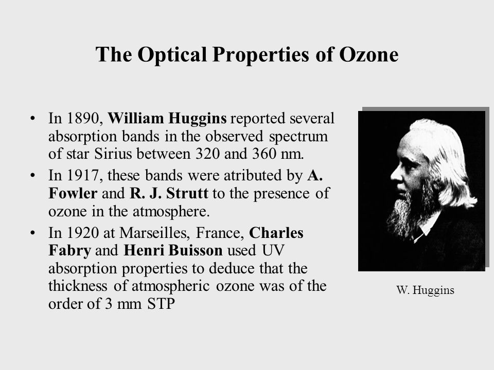 The Optical Properties of Ozone In 1890, William Huggins reported several absorption bands in the observed spectrum of star Sirius between 320 and 360 nm.