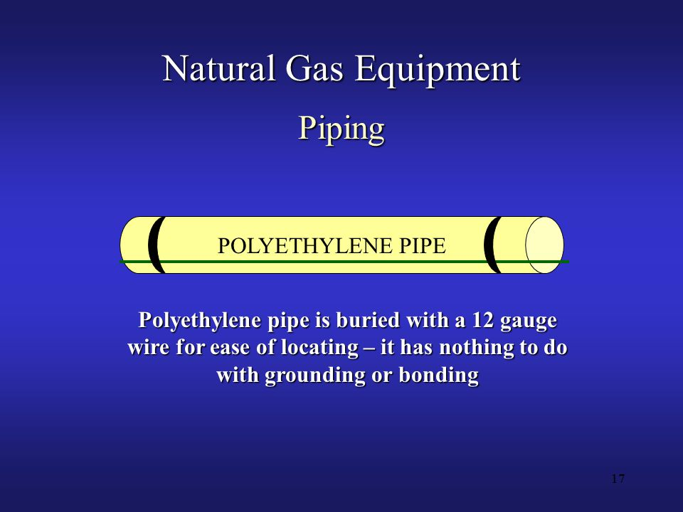 17 Natural Gas Equipment POLYETHYLENE PIPE Polyethylene pipe is buried with a 12 gauge wire for ease of locating – it has nothing to do with grounding or bonding Piping