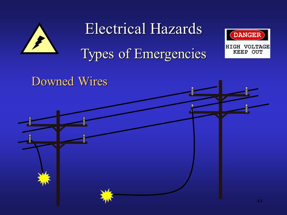 44 Electrical Hazards Types of Emergencies Downed Wires