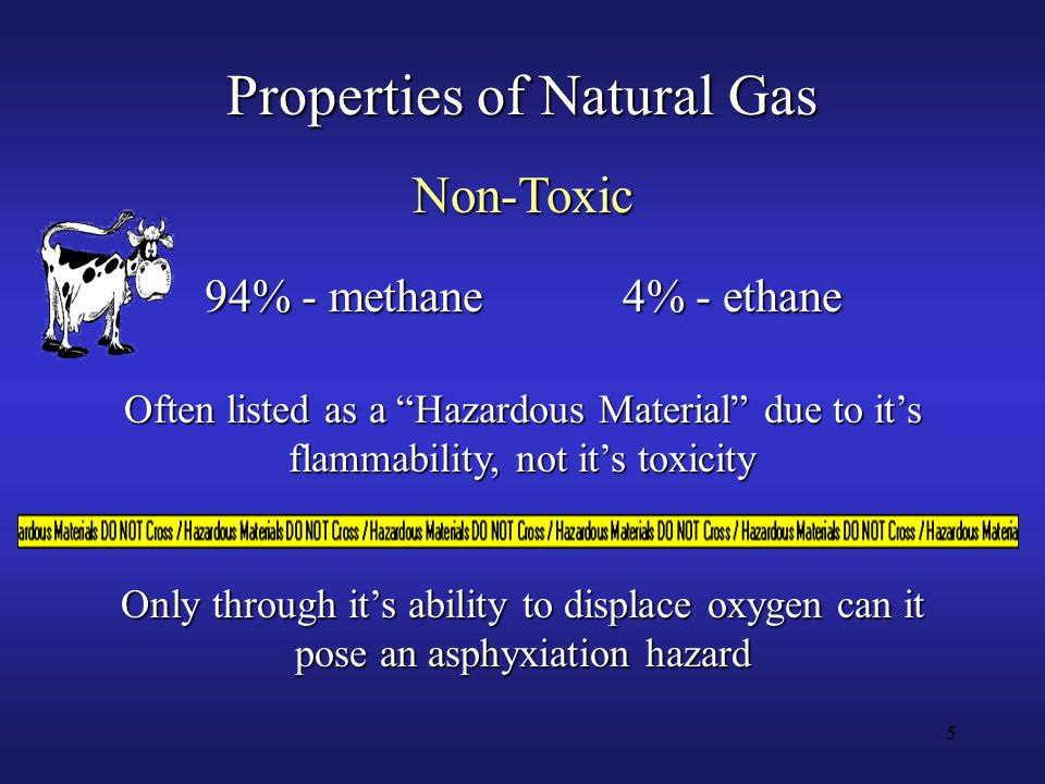 5 Properties of Natural Gas Non-Toxic 94% - methane4% - ethane Often listed as a Hazardous Material due to it's flammability, not it's toxicity Only through it's ability to displace oxygen can it pose an asphyxiation hazard