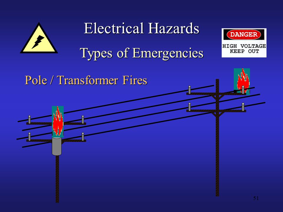 51 Electrical Hazards Types of Emergencies Pole / Transformer Fires