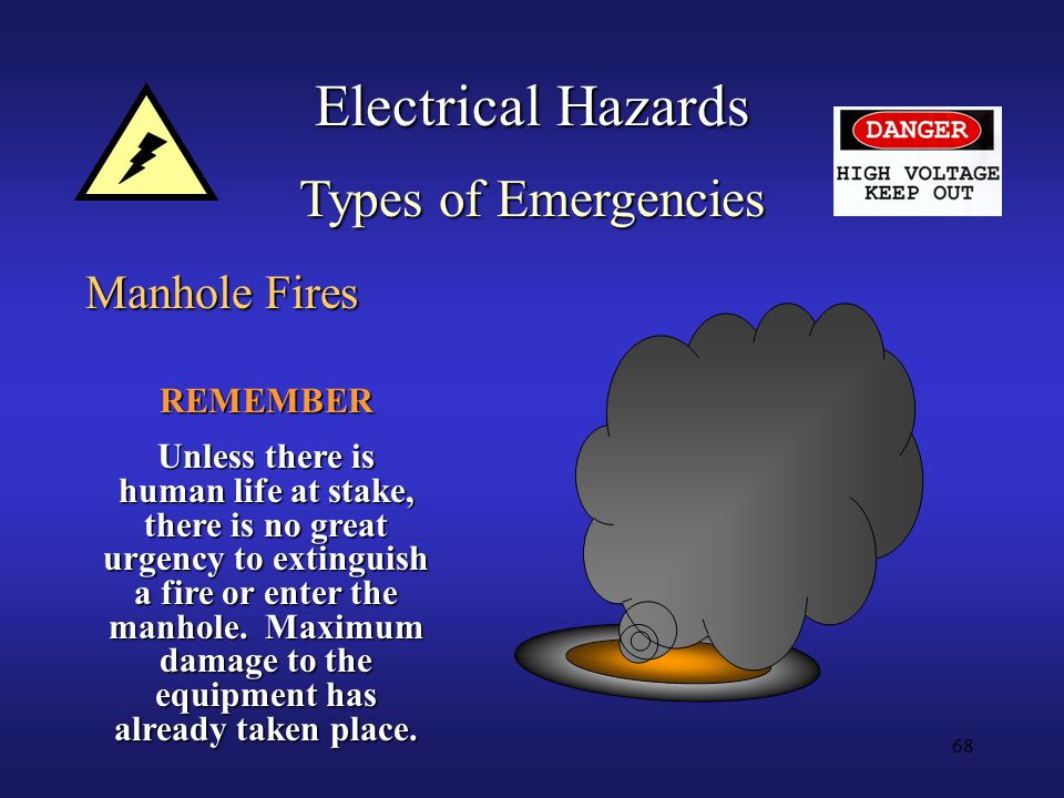 68 Electrical Hazards Types of Emergencies Manhole Fires REMEMBER Unless there is human life at stake, there is no great urgency to extinguish a fire or enter the manhole.