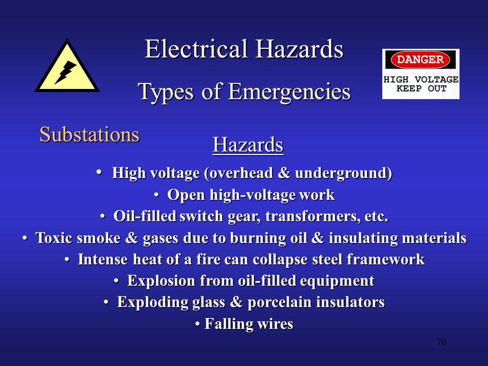 70 Electrical Hazards Types of Emergencies Substations Hazards High voltage (overhead & underground) High voltage (overhead & underground) Open high-voltage work Open high-voltage work Oil-filled switch gear, transformers, etc.