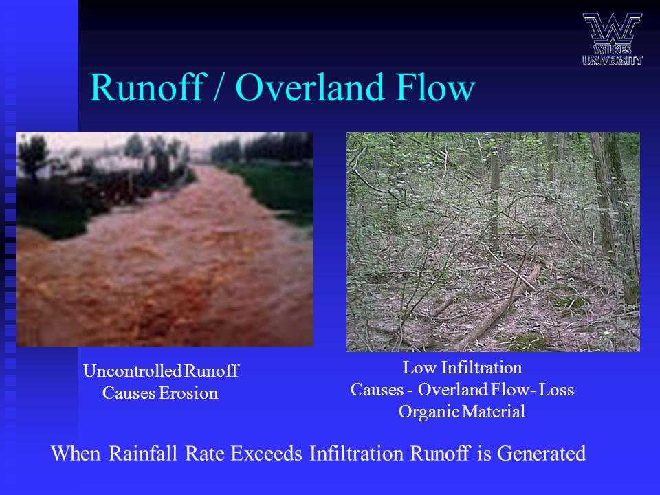 Runoff / Overland Flow When Rainfall Rate Exceeds Infiltration Runoff is Generated Low Infiltration Causes - Overland Flow- Loss Organic Material Uncontrolled Runoff Causes Erosion