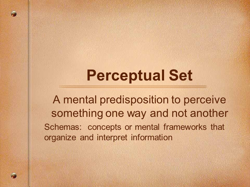 Perceptual Set A mental predisposition to perceive something one way and not another Schemas: concepts or mental frameworks that organize and interpre