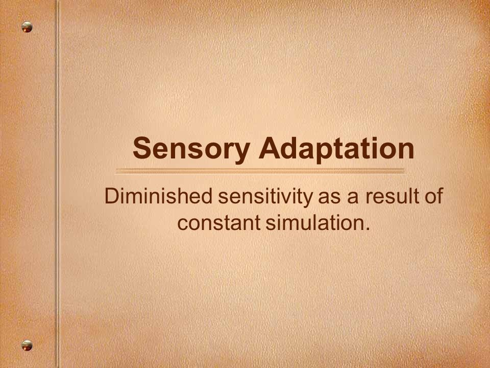Sensory Adaptation Diminished sensitivity as a result of constant simulation.