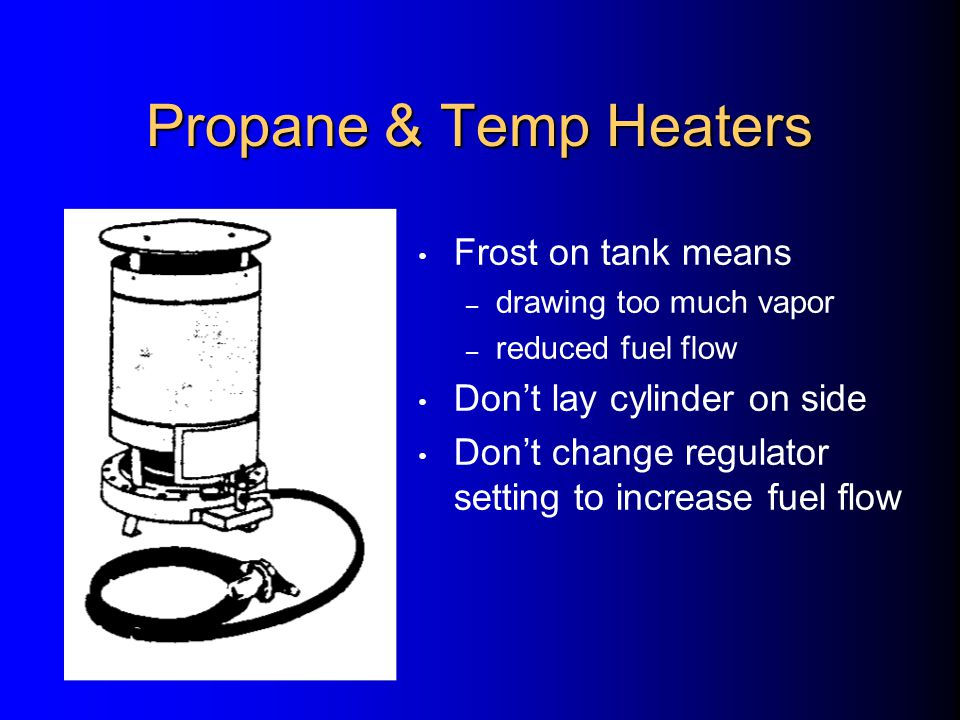 Temporary Heaters Carbon Monoxide – odor/colorless – 55 PPM max.