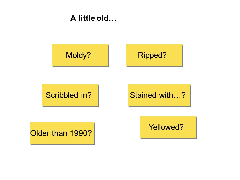 A little old… Scribbled in? Moldy? Stained with…? Yellowed? Ripped? Older than 1990?
