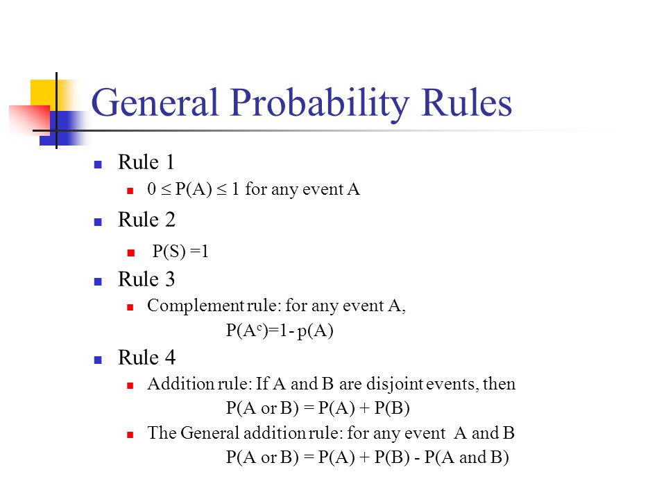 General Probability Rules Rule 1 0  P(A)  1 for any event A Rule 2 P(S) =1 Rule 3 Complement rule: for any event A, P(A c )=1- p(A) Rule 4 Addition rule: If A and B are disjoint events, then P(A or B) = P(A) + P(B) The General addition rule: for any event A and B P(A or B) = P(A) + P(B) - P(A and B)
