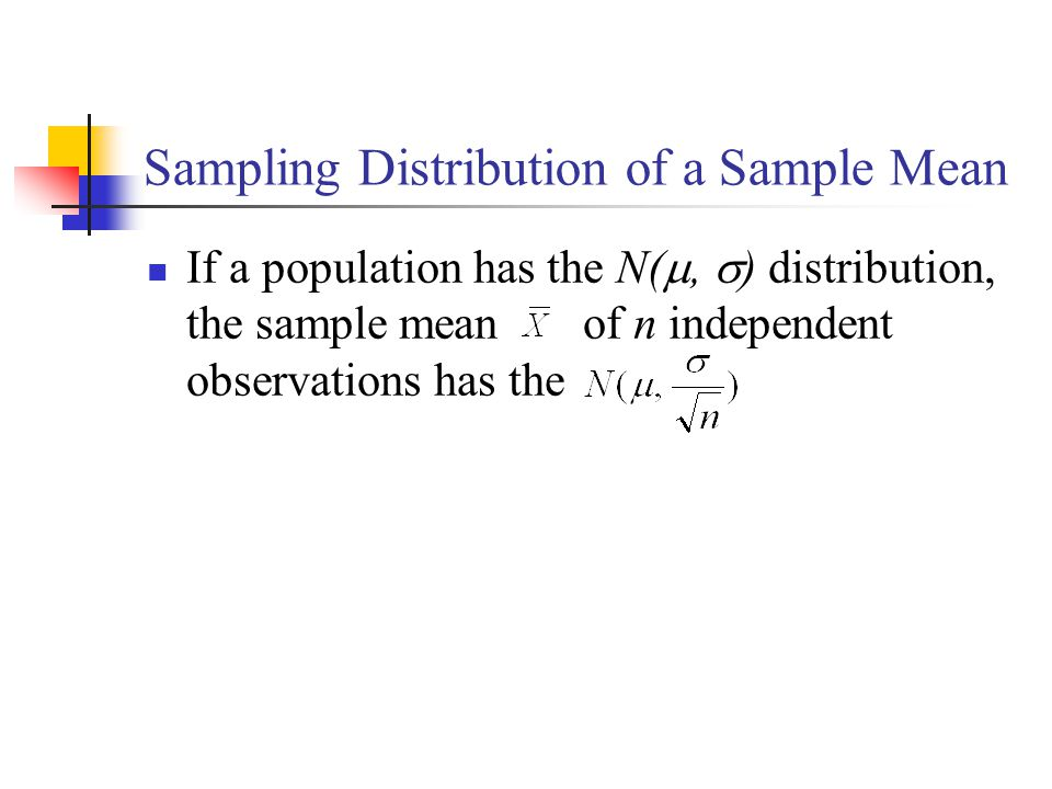 Sampling Distribution of a Sample Mean If a population has the N( ,  ) distribution, the sample mean of n independent observations has the