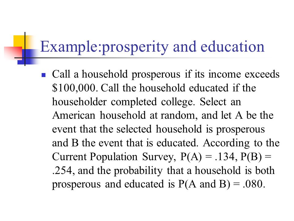 Example:prosperity and education Call a household prosperous if its income exceeds $100,000.