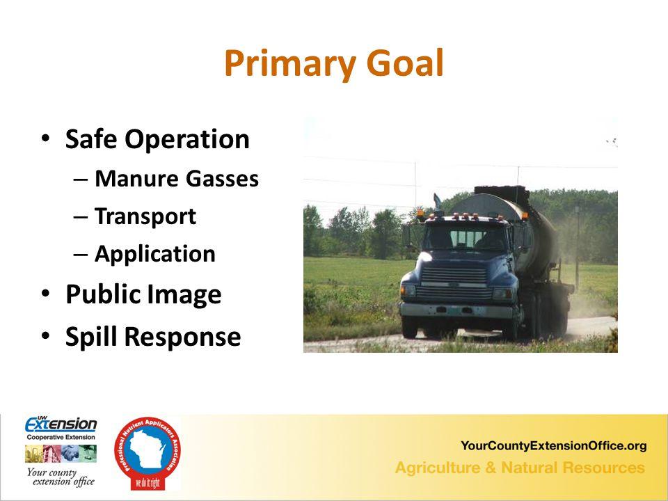 Primary Goal Safe Operation – Manure Gasses – Transport – Application Public Image Spill Response