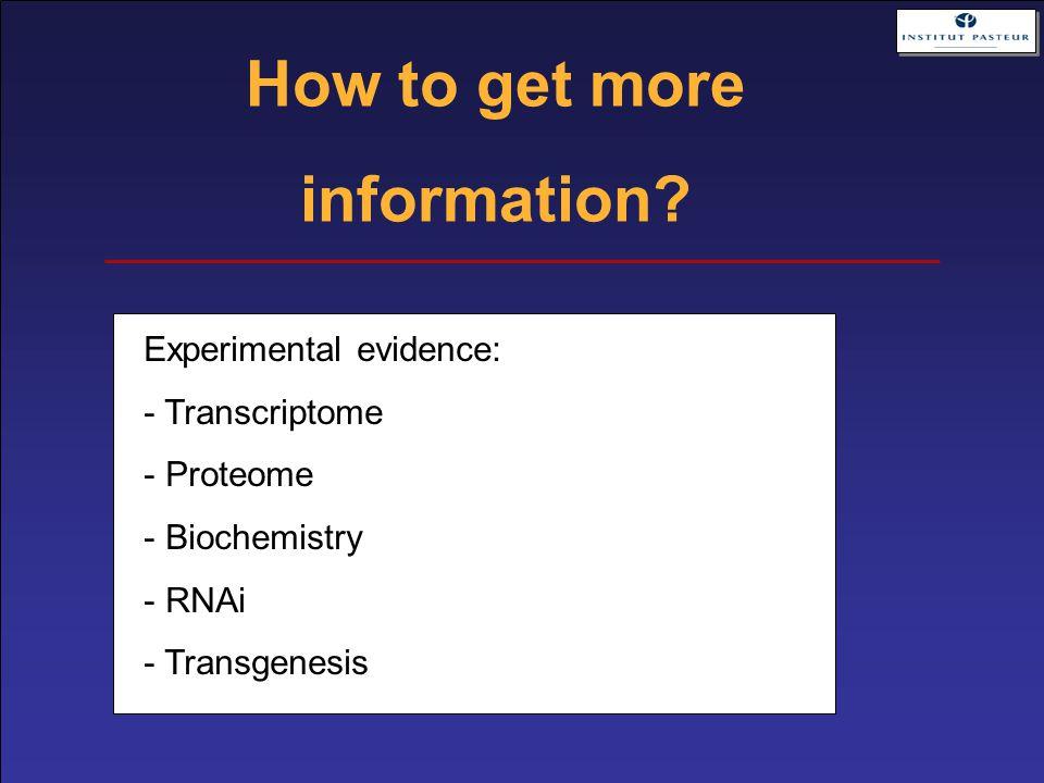 Experimental evidence: - Transcriptome - Proteome - Biochemistry - RNAi - Transgenesis