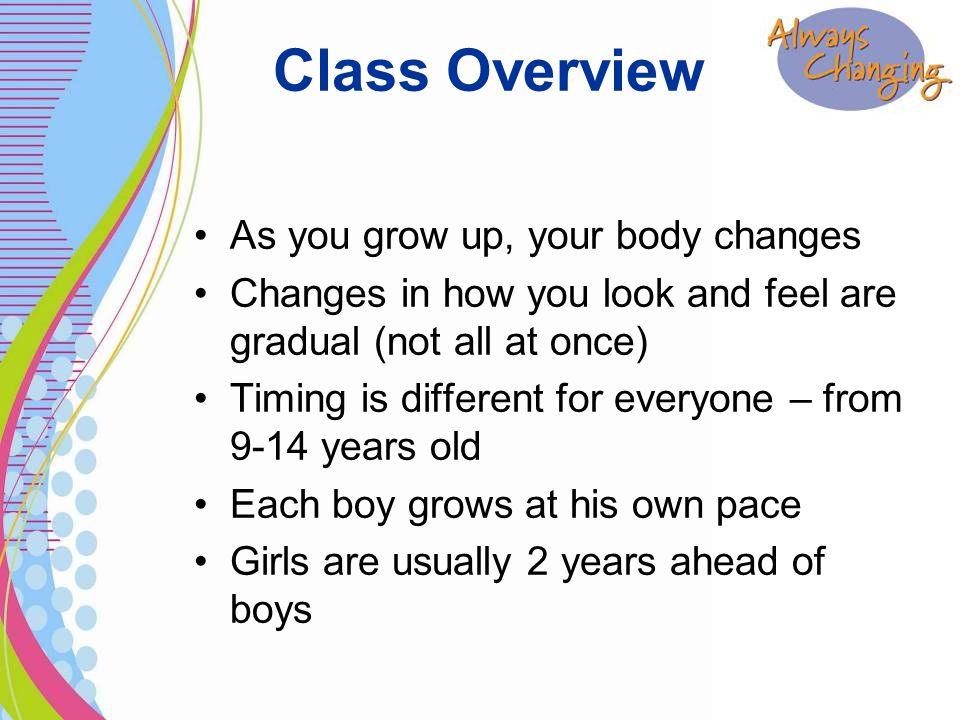 As you grow up, your body changes Changes in how you look and feel are gradual (not all at once) Timing is different for everyone – from 9-14 years old Each boy grows at his own pace Girls are usually 2 years ahead of boys Class Overview