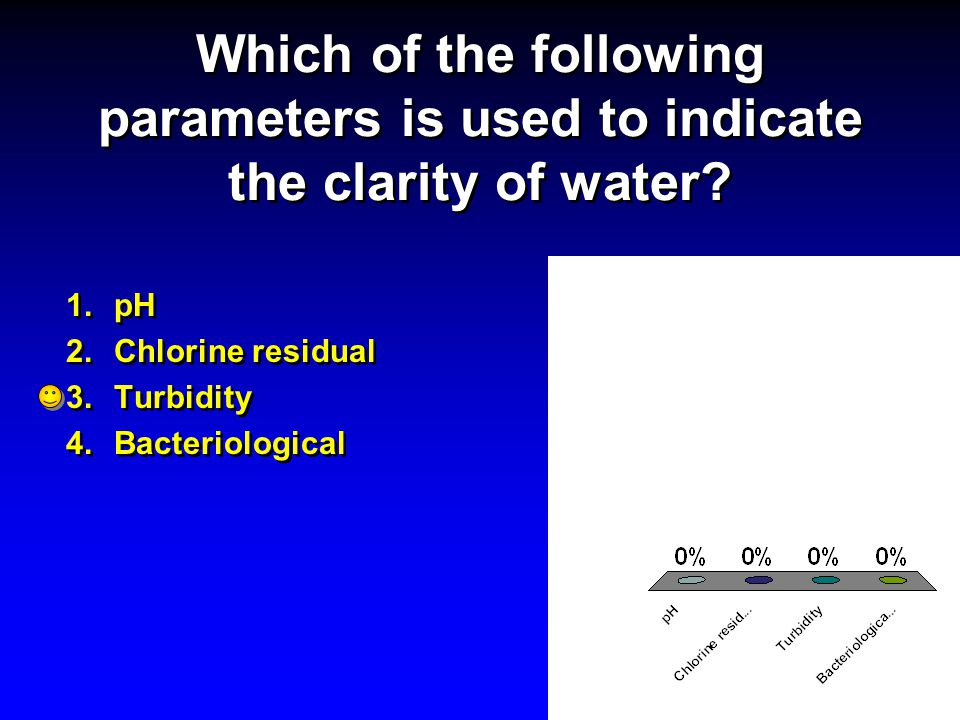Which of the following parameters is used to indicate the clarity of water? 1.pH 2.Chlorine residual 3.Turbidity 4.Bacteriological 1.pH 2.Chlorine res