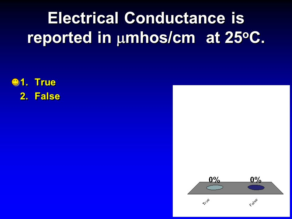 Electrical Conductance is reported in  mhos/cm at 25 o C. 1.True 2.False 1.True 2.False