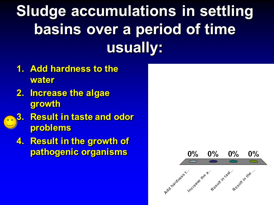 Sludge accumulations in settling basins over a period of time usually: 1.Add hardness to the water 2.Increase the algae growth 3.Result in taste and o