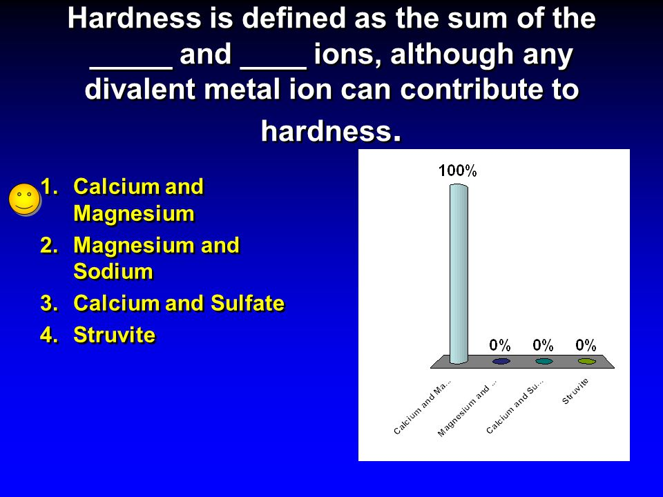 Hardness is defined as the sum of the _____ and ____ ions, although any divalent metal ion can contribute to hardness. 1.Calcium and Magnesium 2.Magne