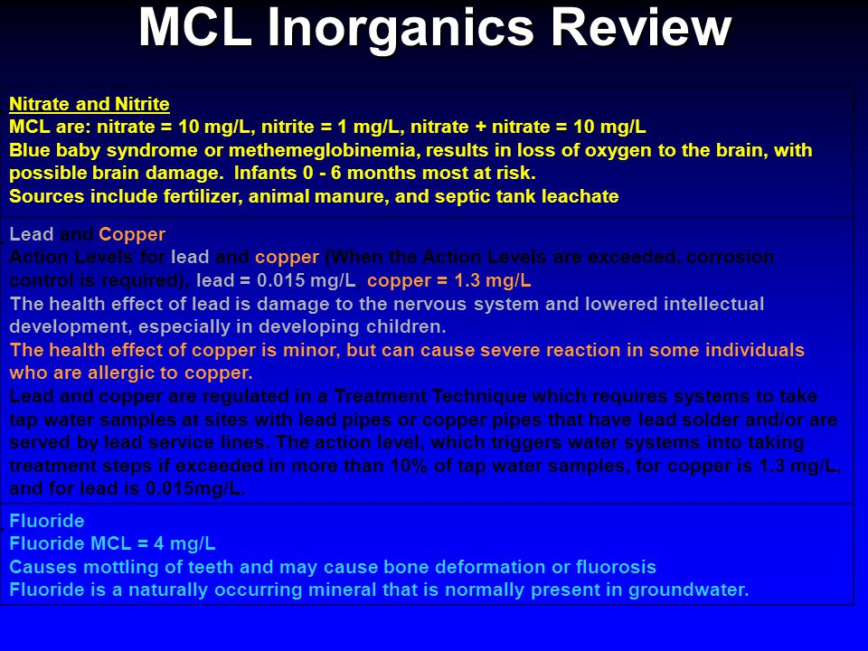 MCL Inorganics Review  Nitrate and Nitrite MCL are: nitrate = 10 mg/L, nitrite = 1 mg/L, nitrate + nitrate = 10 mg/L Blue baby syndrome or methemeglo