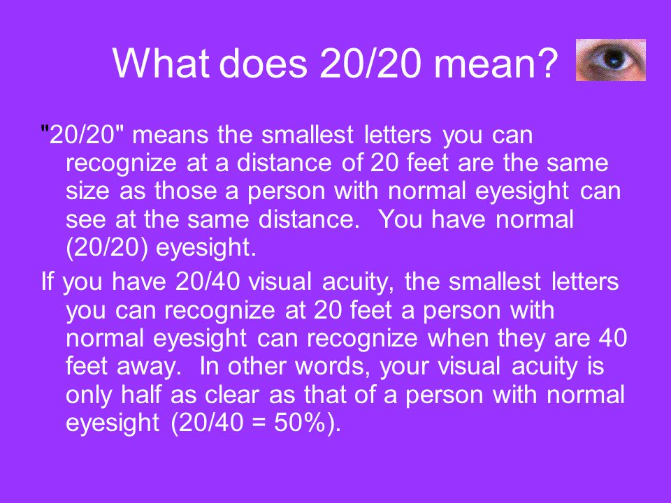 What does 20/20 mean?