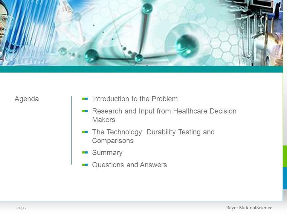 AgendaIntroduction to the Problem Research and Input from Healthcare Decision Makers The Technology: Durability Testing and Comparisons Summary Questions and Answers Page 3
