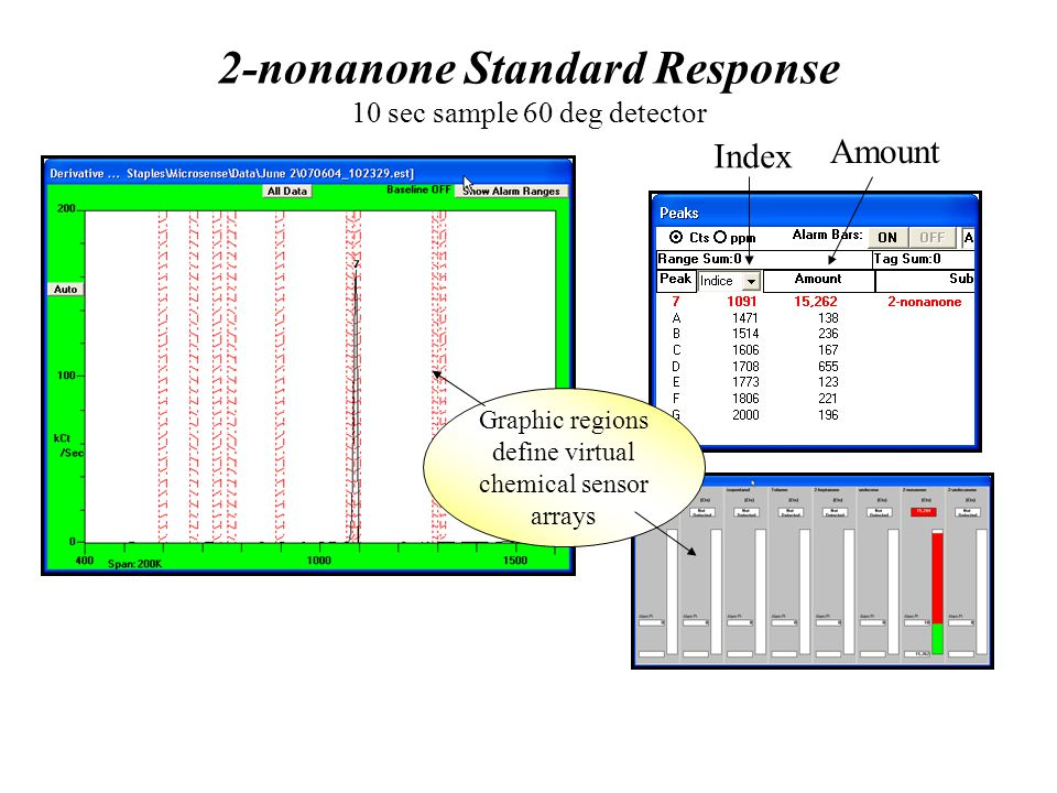 2-nonanone Standard Response 10 sec sample 60 deg detector Graphic regions define virtual chemical sensor arrays Index Amount