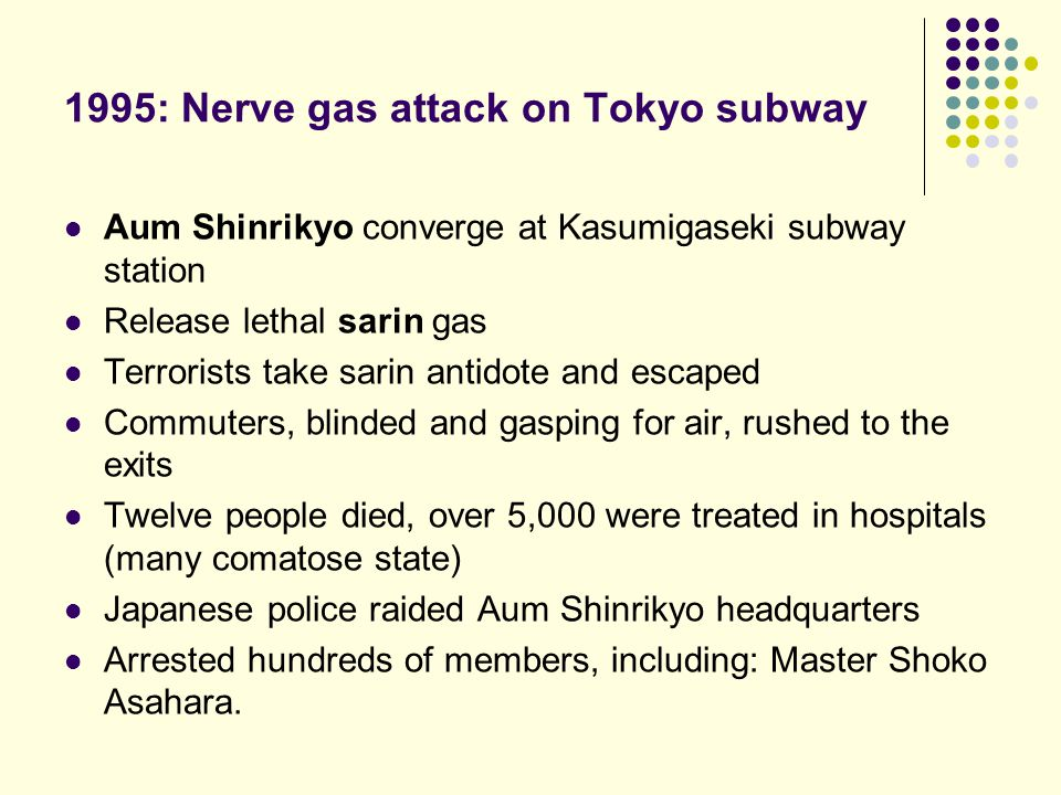 Aum Shinrikyo converge at Kasumigaseki subway station Release lethal sarin gas Terrorists take sarin antidote and escaped Commuters, blinded and gaspi