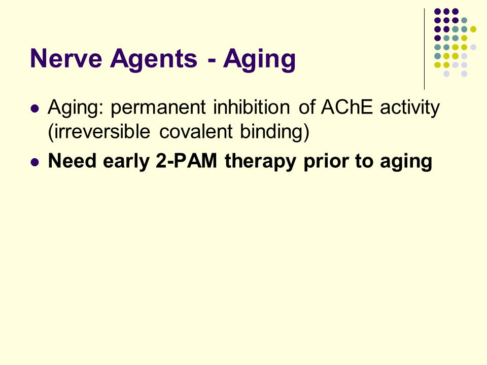 Nerve Agents - Aging Aging: permanent inhibition of AChE activity (irreversible covalent binding) Need early 2-PAM therapy prior to aging