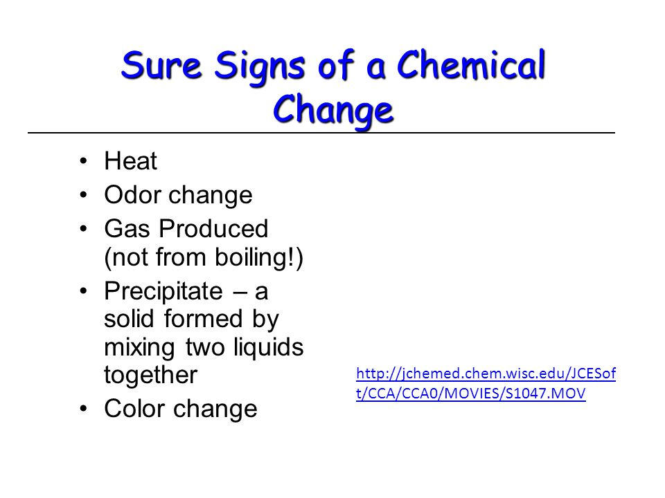 Sure Signs of a Chemical Change HeatHeat Odor changeOdor change Gas Produced (not from boiling!)Gas Produced (not from boiling!) Precipitate – a solid